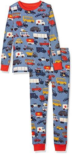 Hatley Jungen Zweiteiliger Schlafanzug Organic Cotton Long Sleeve Printed Pyjama Set, Blau (Rush Hour 400), 2 Jahre (Blau Pyjama Set Baumwolle 2)