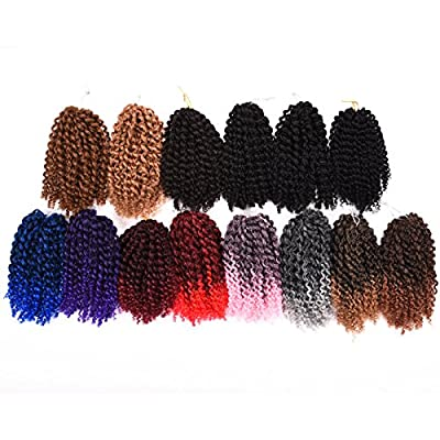 "Silike Marlybob Kinky Curl (3 Bundles/Pack) 8"" Curly Wave Crochet Braiding Hair Extension from Silike"