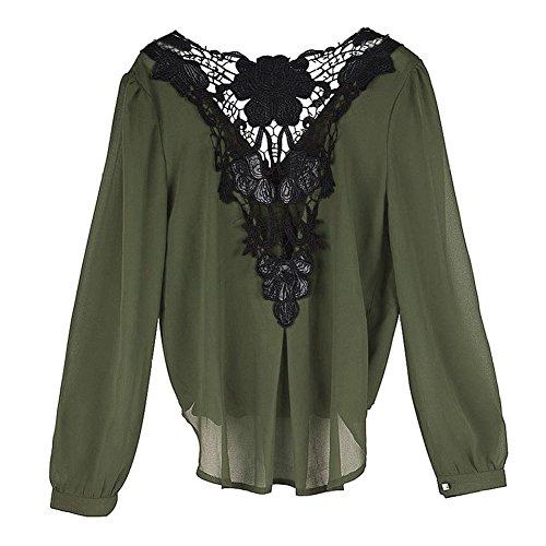 Minetom Chemisier Femme Longue Manche Col V Dos Nu Dentelle Floral Elegant Top Blouse Vert