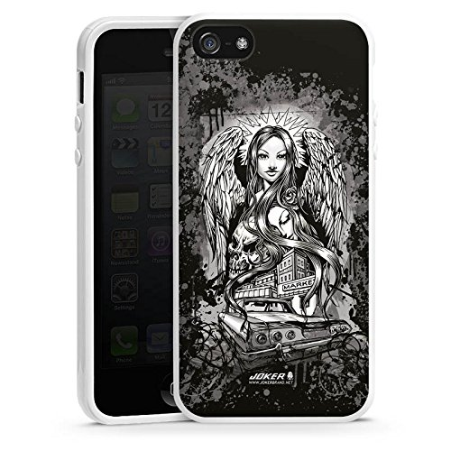 Apple iPhone 5 Housse Étui Silicone Coque Protection Joker - Lost Angel Ange Tête de mort Housse en silicone blanc