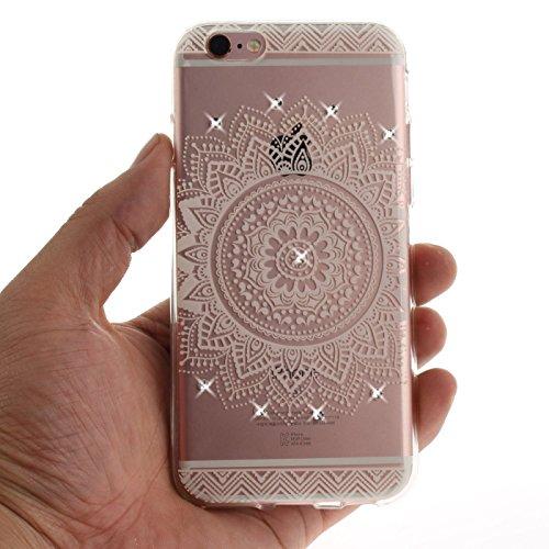 iPhone 6S 4,7Zoll Hülle,iPhone 6 Silikon Schutzhülle,TOYYM Ultra Dünn Transparent Weich Flexibel TPU Bumper Gel Glizter Diamant Silikonhülle Backcover,Retro Muster Design Clear Crystal Durchsichtig Ha Weiße Mandala