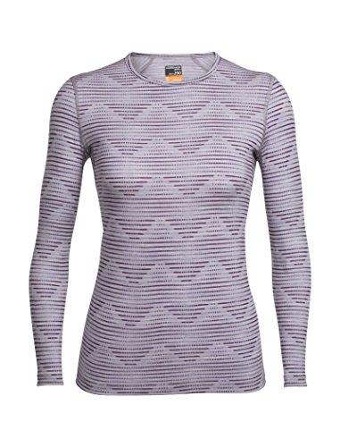 Icebreaker Damen Oasis Long Sleeve Crewe Diamond Line Funktionsshirt, Silk Hthr/Eggplant, S -