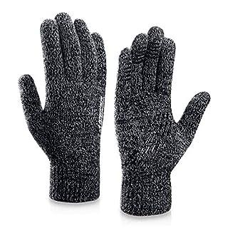 coskefy Winter Warm Gestrickte Touchscreen Handschuhe für Frauen Männer Gloves Wolle Ostern Weihnachten Sport Fahrrad Reiten Camping Wandern Laufen Arbeit Bequem (Herren, Schwarz-Weiß)