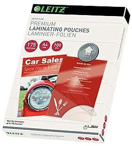 Leitz Pochettes de plastification à chaud, Brillantes, Transparentes, A4, UDT, 175 microns d'épaisseur, Paquet de 100, 74830000