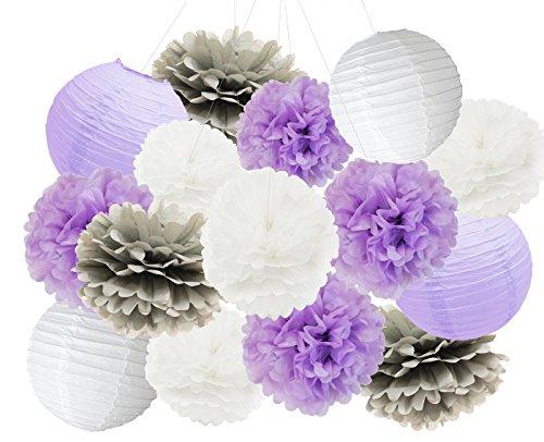 (Furuix Babyparty Mädchen 16 PC weißes Lavendel-Grau 10inch 8inch Gewebe-Papier Pom Pom Papierlaternen mischte Paket für Lavendel-themenorientierte Partei-Hochzeits-Papiergirlande, Brautdusche-Dekor Lila Baby-Dusche-Dekoration)