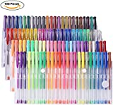 YOHOOLYO 100 Gel Pens Colouring Pens Set Unique Colors Including Glitter Neon Pastel & Metallic in Multi Pack for Kids Adult Colouring Books