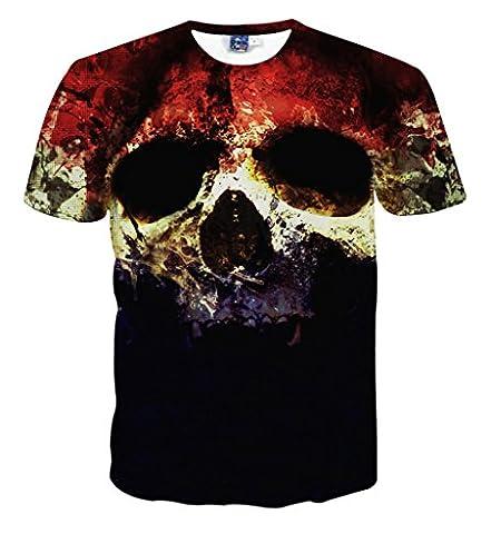 Pizoff Unisex Sommer leicht bunt bequem cool Digital Print T Shirts mit Bunt skull Skelett 3D Muster
