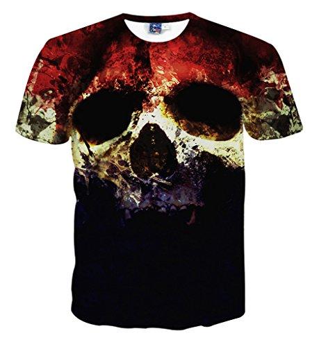 Pizoff Unisex Sommer leicht bunt bequem cool Digital Print T Shirts mit Bunt skull Skelett 3D Muster, Y1648-5, Gr. M(EU-S)