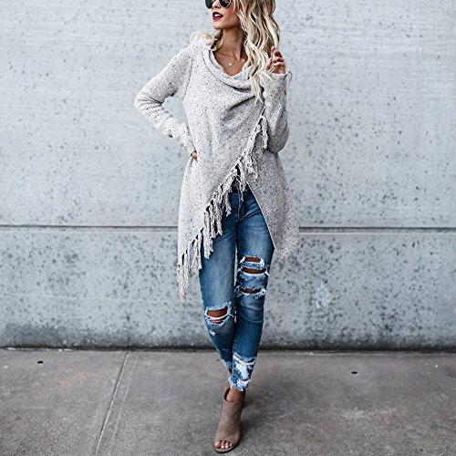 Bonboho Femme Cardigan Gilet Loose Poncho Tricot Ourlet Irrégulier Franges Casual Manteau Veste S M L XL Blanc