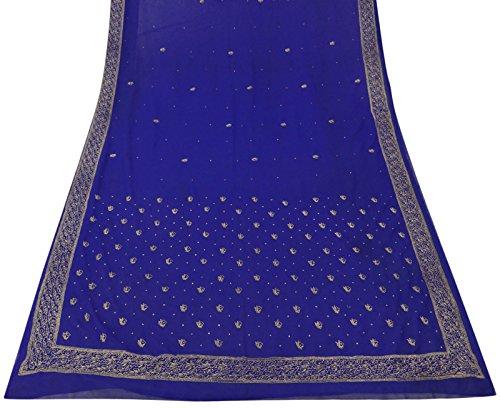 Jahrgang indische Blau Craft Fabric Wrap Saree gestickte Georgette Sari 5YD (Bollywood Fuß Dekorationen)