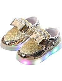 ... ❤ Zapatillas de Deporte Flash para niños, Niños Niños Niñas Deporte Bowknot Crystal Mesh Zapatos Casuales Luminosos…