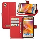 ZTE Blade A452(5.0 ZoLL) Hülle,Frlife | Bookstyle Handyhülle Premium PU-Leder klapptasche Case Brieftasche Etui Schutz Hülle für ZTE Blade A452(5.0 ZoLL) Rote