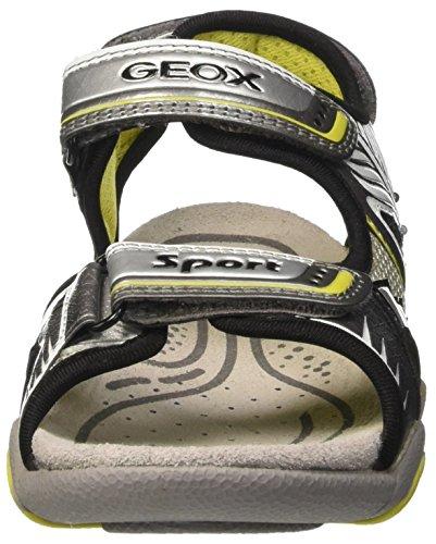 Geox Strike B, Sandales Bout Ouvert Garçon Gris (Grey/Limec0666)