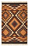 Second Nature Alwar (Fair Trade Geometrische Wolle indischen Kelim Teppich braun orange Creme 75 cm x 120 cm