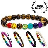 Aura Design 7 Chakra Perlenarmband für Damen und Herren - edle Naturperlen - Yoga Armband - Meditation - Buddha Armband - Stein Armband - Gelbes Tigerauge - [19,5 cm Umfang] & [8 mm Perlen] ...