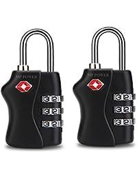 MP power @ Candado Cierre TSA de viaje aprobada bloqueo Security Padlock con combinación de 3 dígitos 2Pcs para Bolsa de viaje Maleta de viaje Puerta de la Verja Escuela Pool Locker Maletín