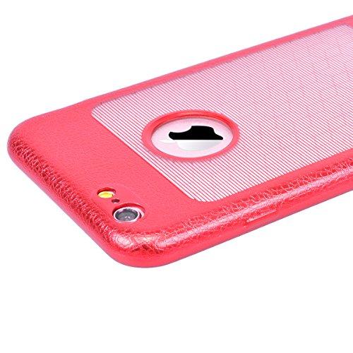 GrandEver iPhone 6S/iPhone 6 Hülle Weiche Silikon Handyhülle TPU Bumper PU Leder Backcover mit Smart Fenster Ansicht Schutzhülle für iPhone 6S/iPhone 6 Rückschale Klar Handytasche Anti-Kratzer Stoßdäm Rot