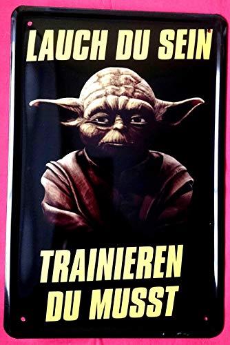 Blechschild 20x30 cm Meister Yoda Lauch du Sein - trainieren du mußt Star Wars Kult Serie Kino Film Fun Spruch Fitness Studio Bar Kneipe Metall Schild Kino-serie