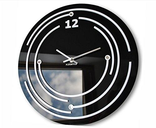 Horloge design moderne, déco murale en verre acrylique Omega Noir.