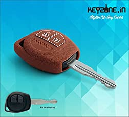 KEYZONE Silicone Key Cover Fit for Suzuki Swift, Baleno, S-Cross, Ciaz, Dzire, Wagonr, Sx4, Ritz 2B Remote (Brown)
