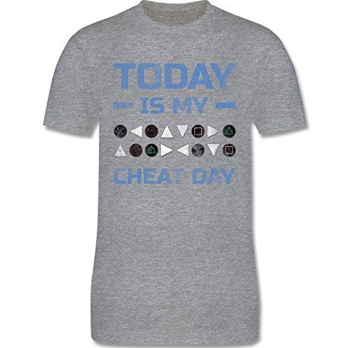 Nerds & Geeks - Today is my cheat day - Herren Premium T-Shirt Grau Meliert
