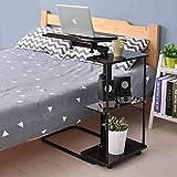 CWJ Haushalts-Kleiner Tisch-justierbarer Laptop-Nachttisch mit drehendem Brett des Regal-3 und angehobenen Leisten für Wohnzimmer einfaches kreatives Bett Multifunktions-Tabelle,Schwarze Walnuss