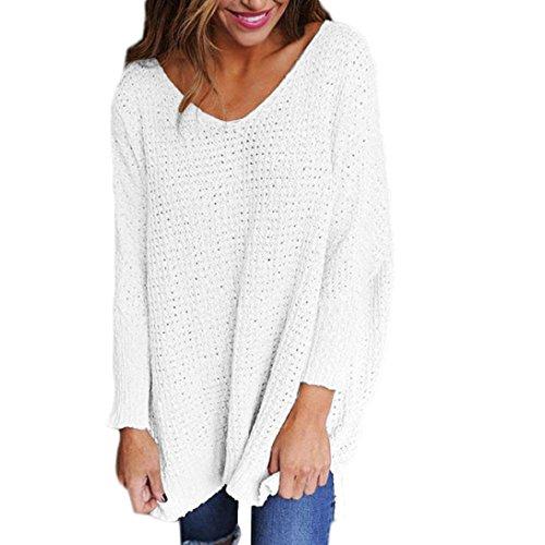 Sannysis Damen Lose Asymmetrisch Jumper Sweatshirt Pullover Bluse Oberteile Oversize Tops (S, Weiß) (Herren-wasserfall)