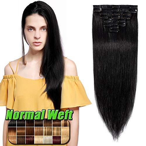 Clip in Extensions Echthaar Schwarz #1 Haarverlängerung 8 Teile 18 Clips Remy Human Hair guenstig Glatt Haarverdichtung 60cm-80g