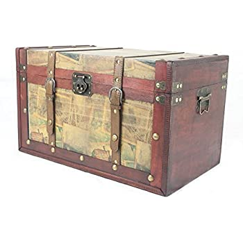 Large Wido Vintage Colonial Pirate Wooden Treasure Chests Toy Storage Bedroom