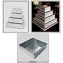 Moldes para tartas de varios pisos (4 unidades de 15,2 cm, 20,3 cm, 25,4 cm y 30,5 cm, para bodas y cumpleaños), diseño cuadrado