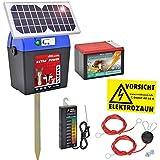 Weidezaungerät 9V inkl. Batterie, Solar, Zubehör, passend für den Elektrozaun und Weidezaun
