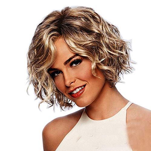 Muamaly Damen Perücke Blond Kurz, Sexy Perücken Frauen Wellig Lockig Hitzebeständig Wig Synthetik Perücke Für Karneval Fasching Cosplay Party Kostüm