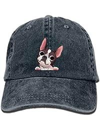 Xukmefat BB2633 Chapeau de Surf réglable en Jean pour Femme Motif Terriers  de Boston 3207be04149