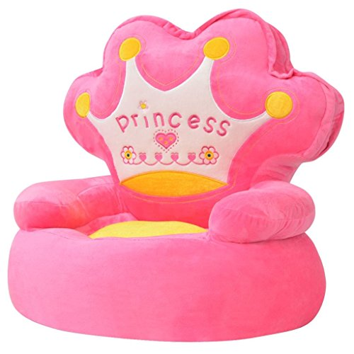 vidaXL Plüsch-Kindersessel Kind Baby Kuschel-Sessel Sofa Sessel Prinzessin Rosa