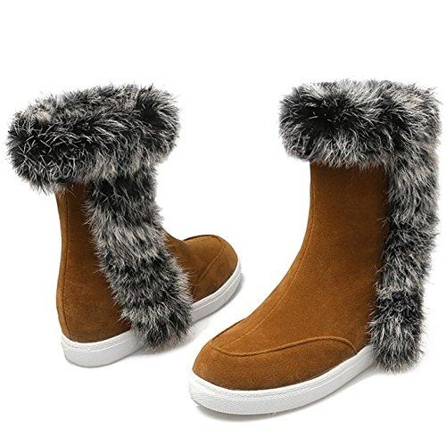 COOLCEPT Damen warme Wildleder flache Schuhe der beiläufigen Höhe Erhöhung  Ferse Schneeschuhe mit Kunstfell Datierung Gelb ...