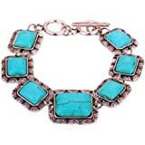 Yazilind Jewellery Charming Handmade Ethnic Tibetan Silver Rectangle Turquoise Bracelet Bangle