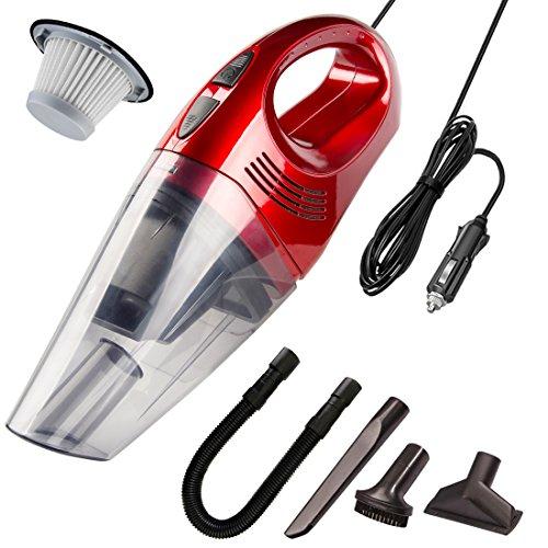 Autostaubsauger 12V 100W mit 5000Pa Saugleistung Handheld Auto staubsauger Nass & Trocken Handstaubsauger HEPA-Filter Staubsauger für Staub und Flüssigkeiten geeignet, staubsauger für Auto,Haus-Rot