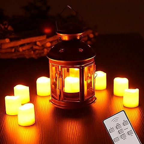 TRESKO® 9er Set LED Kerzen inkl. Batterien, Fernbedienung und Timer flammenlose Weihnachtskerzen Kerzenlichter Teelichter Weihnachtsdeko, kabellos, dimmbar, in ansprechender Geschenkverpackung