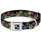Buckle Down 22,9–38,1cm Marihuana Blätter schwarz/Multi Farbe Hunde-Halsband mit Knochen, klein