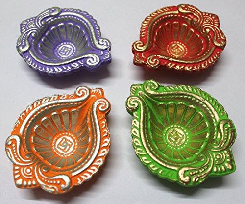 GESCHENKE Mango Diwali Diva Diya handbemalt Clay Set -