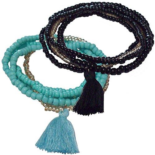 GEME Damen Armband (2 Stück) je. 5 Schichten mit verschieden Großen Perlen und Quaste in Türkis und Schwarz, Kunst Perlen, Armreif, Nylon - Türkis-perlen Mit Armband
