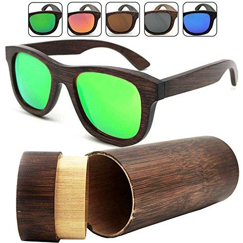 isunhot 1er Pack Bambus Holz Sonnenbrille mit polarisierten UV-Schutz Objektiv in Vintage Wayfarer Stil,–authentische natürlichen Rahmen für Herren/Frauen Handgefertigt Brillen am Strand