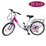 Ridgeyard 20 pollici Bicicletta da bambina bici ragazzi ragazze per 12-16 anni Children Bicycle(Rosa + Bianco)