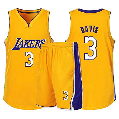 Z-ZFY Männer Frauen NBA Jersey-Los Angeles Lakers # 3 Baron Davis Kleidung Klassisches Ärmel Kinder Top T-Shirt,Gelb,L165cm/45~50kg