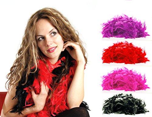 (AP24) Federboa Feder Boa Samba Karneval Fasching Kostüm Deko Schal Party Feier 180 cm (Rot)
