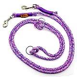 Taumur: zweifach verstellbare Hunde Tauleine - lila/rosa/hellblau/weiß - Leine für große Hunde aus robustem PPM