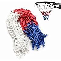 Slimerence Red de Repuesto para Baloncesto, Red de Baloncesto Rojo/Blanco/Azul, Nailon para Uso estándar en Interiores o Exteriores, Red de Baloncesto Fuerte y Duradera