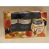 Hero Confiture Minis 3 schmaken Aardbei, Kers & Abrikoos 6 x 28g (Erdbeere, Kirsche und Aprikose Konfitüre)