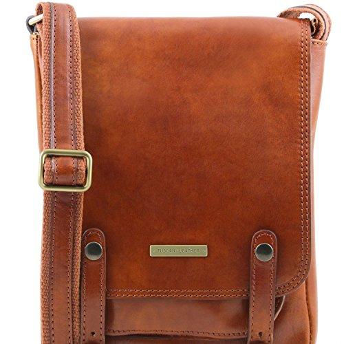 Tuscany Leather Roby Herrentasche aus Leder mit Schnallen Braun Honig
