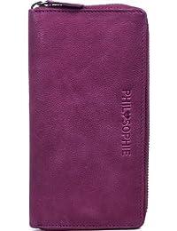 PHIL+SOPHIE, Cntmp, Damen Geldbörse, Damen Portemonnaie, Damen Börse, Brieftasche lang, Querformat, Echt Leder, 19x10x2cm (BxHxT)